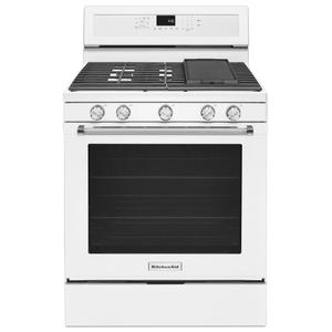 KitchenAid30-Inch 5-Burner Gas Convection Range - White