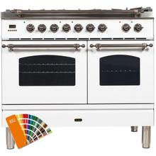 Nostalgie 40 Inch Dual Fuel Natural Gas Freestanding Range in Custom RAL Color with Bronze Trim