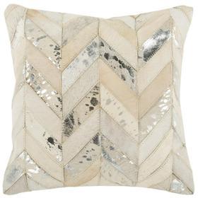 Metallic Herringbone Cowhide Pillow - White / Gold