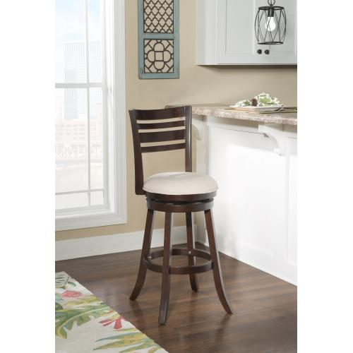 Upholstered Microfiber Seat and 360-degree Swivel Barstool, Espresso