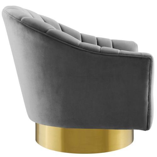 Buoyant Swivel Chair Performance Velvet Set of 2 in Gray