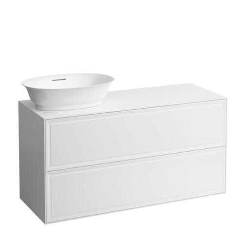 White Matte Drawer element 1200, 2 drawers, cut-out left, matches bowl washbasins 812852, 812853