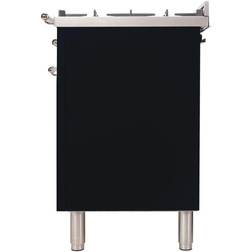 Nostalgie 36 Inch Dual Fuel Liquid Propane Freestanding Range in Glossy Black with Chrome Trim