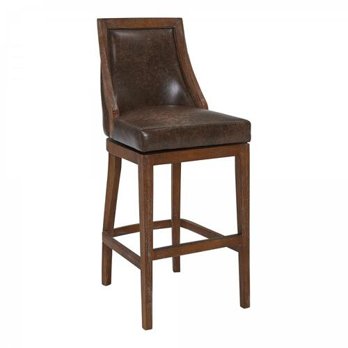 "Armen Living Presley 30"" Bar Height Barstool in Distressed Finish and Brown Stone Faux Leather"