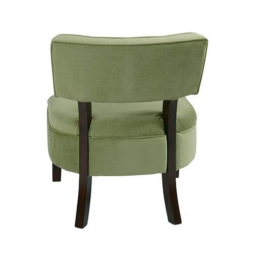 Curves Button Accent Chair In Spring Green Velvet
