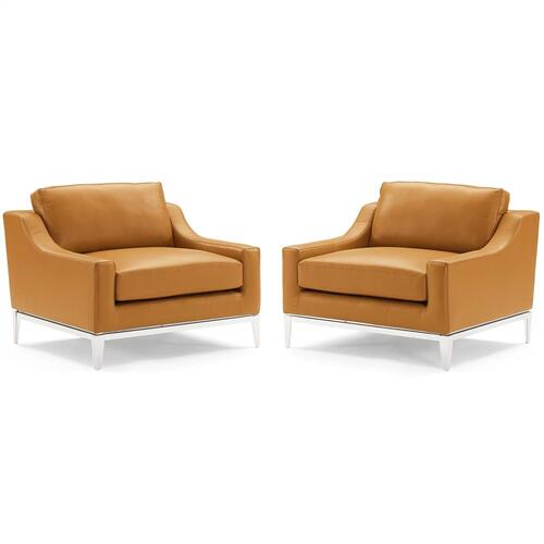 Modway - Harness Stainless Steel Base Leather Armchair Set of 2 in Tan