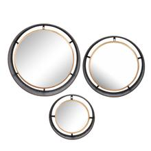 S/3 Decorative Metal Frame Wall Mirrors, Gold