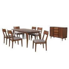 DLU-MC4278-C45-SR8P  8 Piece Rectangular Dining Table Set  Padded Performace Fabric Seats  Server