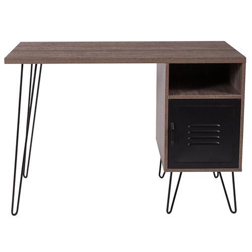 Flash Furniture - Woodridge Collection Rustic Wood Grain Finish Computer Desk with Metal Cabinet Door and Black Metal Legs