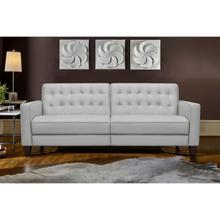"""See Details - Wesley 81"""" Dove Grey Genuine Leather Extendable Power Footrest Tuxedo Arm Sofa"""