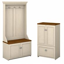 Fairview Hall Tree with Storage Bench and Shoe Cabinet - Antique White
