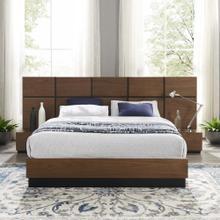 Caima 3 Piece Queen Bedroom Set in Walnut