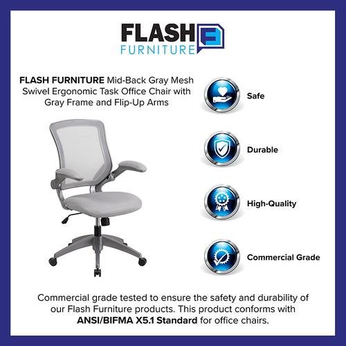 Gallery - Mid-Back Gray Mesh Swivel Ergonomic Task Office Chair with Gray Frame and Flip-Up Arms