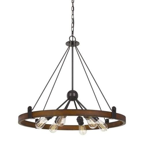 60W X 6 Lucca Wood/Metal Chandelier (Edison Bulbs Not included)
