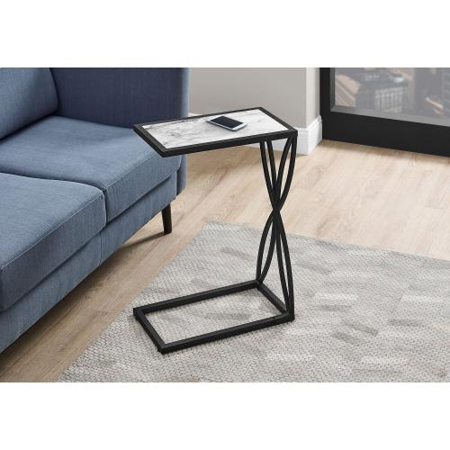 "ACCENT TABLE - 25""H / WHITE MARBLE-LOOK / BLACK METAL"