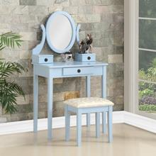Moniys Wood Moniya Makeup Vanity Table and Stool Set, Blue