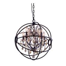 View Product - Geneva 5 light Dark Bronze Pendant Golden Teak (Smoky) Royal Cut crystal
