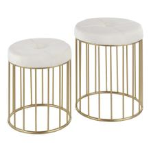 Canary Nesting Ottoman Set - Gold Metal, Cream Velvet