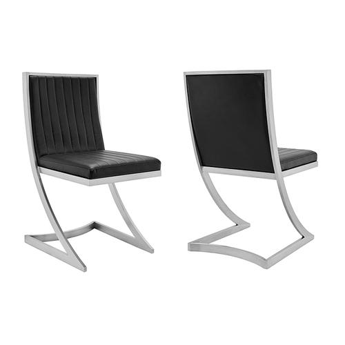 Marc Modern Faux Leather and Brushed Stainless Steel Dining Room Chairs - Set of 2