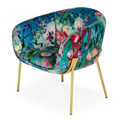 Modrest Falco - Contemporary Floral Velvet and Gold Accent Chair