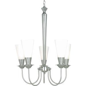 5-lite Ceiling Lamp, Ps/frost, 60wx5/b Type