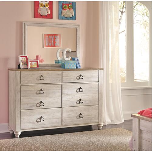 Full Panel Bed With 1 Storage Drawer With Mirrored Dresser and Chest