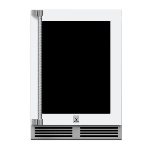"24"" Hestan Outdoor Dual Zone Refrigerator with Wine Storage (UV-Coated Glass Door) - GRWG Series - Froth"