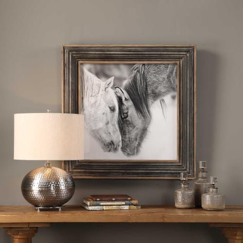 Custom Black and White Horses Framed Print