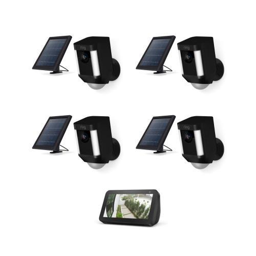 4-Pack Spotlight Cam Solar with Echo Show 5 - Black