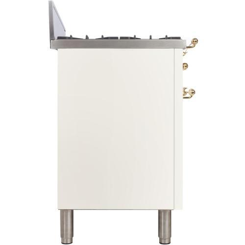 Ilve - Nostalgie 30 Inch Gas Natural Gas Freestanding Range in White with Brass Trim