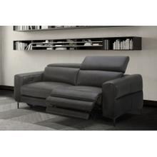 Divani Casa Meadow Modern Dark Grey Leather Dual Electric Sofa Recliner with Electric Headrest