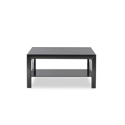 One Glass Shelf Square Cocktail Table, Black and Chrome
