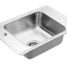 "Commercial 24"" x 20-5/16"" stainless steel 20 gauge single bowl sink"