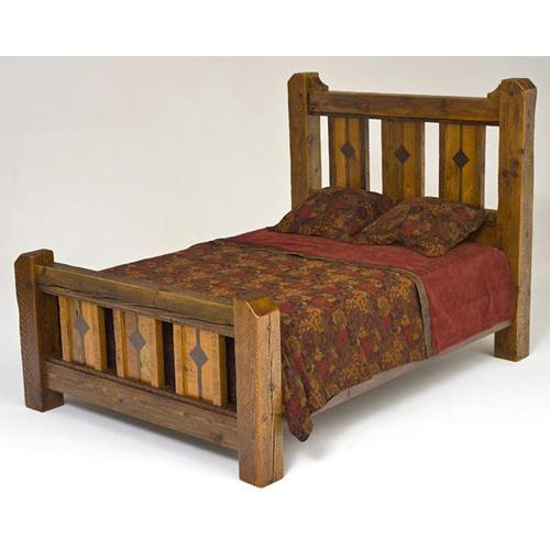 Mustang Canyon Deluxe Bed With Inlaid Panels - California King Bed (complete)