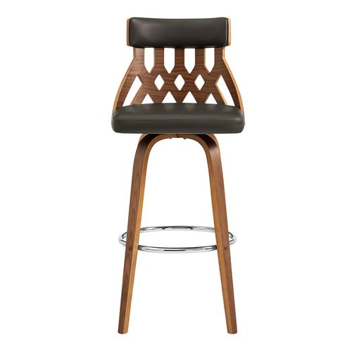 """Armen Living - Crux 30"""" Swivel Bar Stool in Brown Faux Leather and Walnut Wood"""