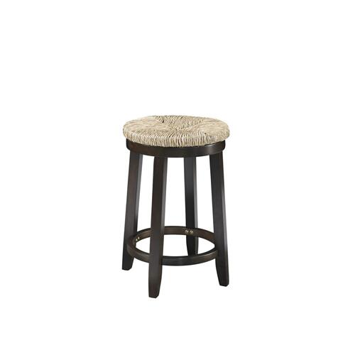 360-degree Swivel and Seagrass Seat Counter Stool, Espresso Brown