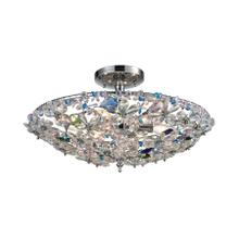 Crystallus 6-Light Semi Flush in Polished Chrome with Multi-colored Crystals