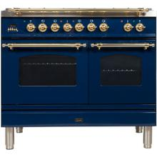View Product - Nostalgie 40 Inch Dual Fuel Natural Gas Freestanding Range in Blue with Brass Trim