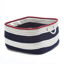 "Nautical Stripe Basket AU01 Navy Red 14"" X 10"""