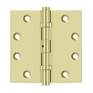 "4-1/2"" x 4-1/2"" Square Hinges, Ball Bearings - Unlacquered Brass"