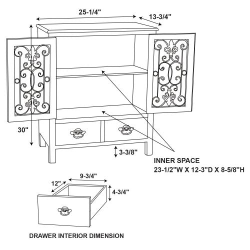 2-door and 2-drawer Console, Antiqued White