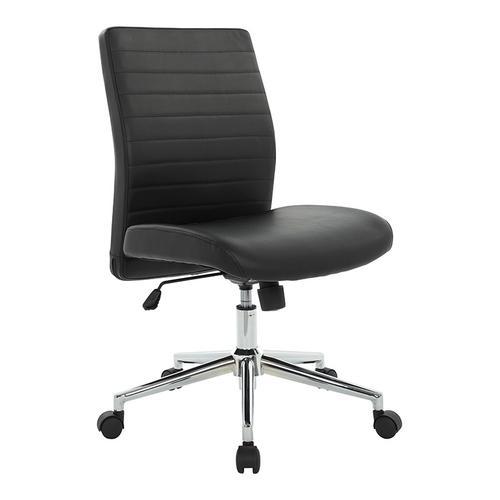 Black Textured Bonded Lthr-locking Tilt-chrome Base- Chair Kd