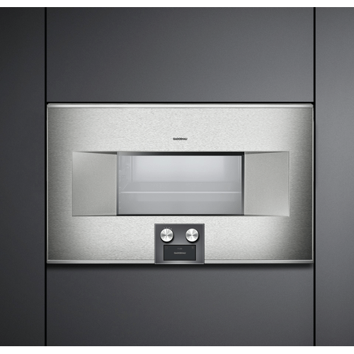 """Gaggenau - 400 series Combi-steam oven BS 485 610 Stainless steel-backed full glass door Width 30"""" (76 cm) Left-hinged Controls at the bottom"""