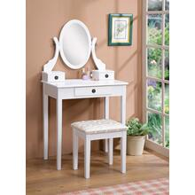 Moniya White Wood Vanity Table and Stool Set