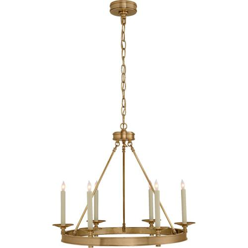 Visual Comfort CHC1600AB E. F. Chapman Launceton 6 Light 27 inch Antique-Burnished Brass Chandelier Ceiling Light, Small Ring