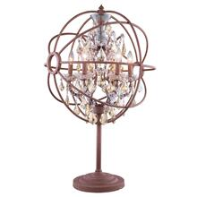 Geneva 6 light Rustic Intent Table Lamp Golden Teak (Smoky) Royal Cut crystal