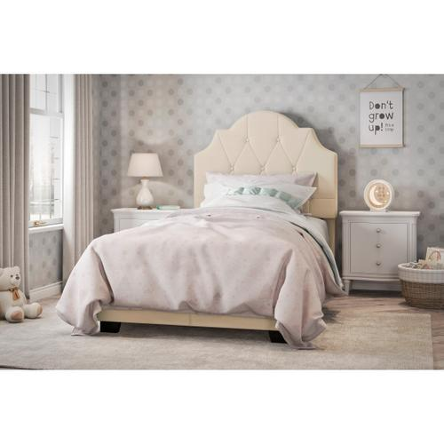 Saddle Tufted Twin Upholstered Bed in Cream