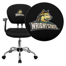 Wright State University Raiders Embroidered Black Mesh Task Chair with Arms and Chrome Base