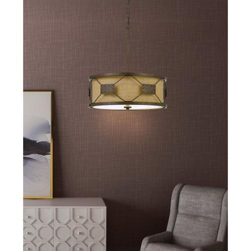 60W X 4 Ragusa Metal Pendant Chandelier With Burlap Shade