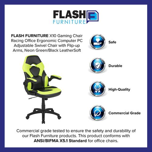 Gallery - X10 Gaming Chair Racing Office Ergonomic Computer PC Adjustable Swivel Chair with Flip-up Arms, Neon Green\/Black LeatherSoft